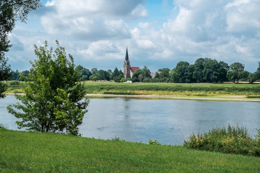Blick zur Boritzkirche von Leckwitz