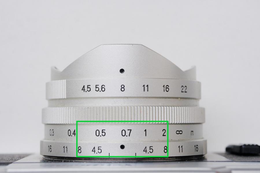 Voigtländer Super Heliar 14mm: Schärfebereich bei Blende 8 von etwa 41cm - 2m